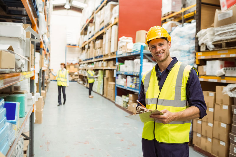 construction man in warehouse