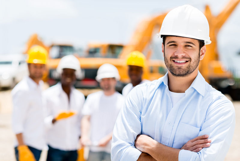 man with hard hat on